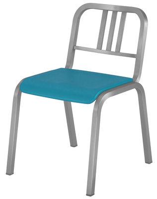 Arredamento - Sedie  - Sedia impilabile Nine-O di Emeco - Alluminio opaco / Blu - Alluminio riciclato, Poliuretano