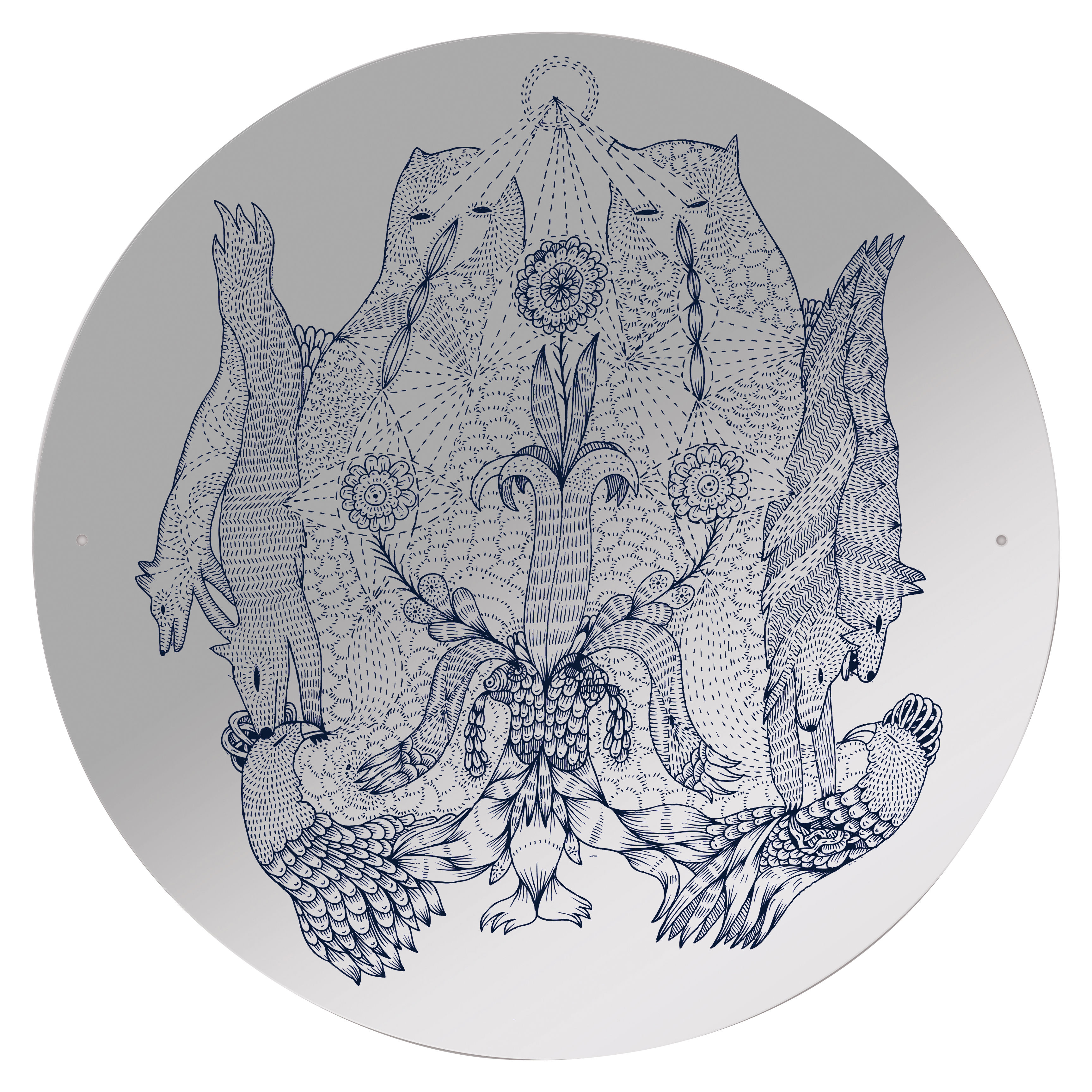 Furniture - Mirrors - Rarara self-sticking mirror - Self-adhesive by Domestic - Rarara pattern - Plastic material