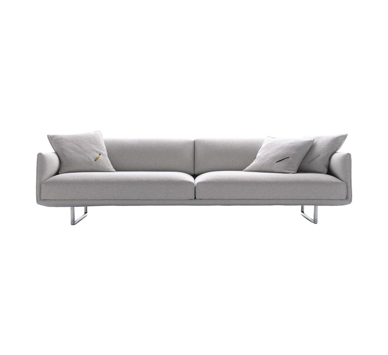 Möbel - Sofas - Hara Sofa / 2-Sitzer - L 200 cm - mit automatisch verstellbarer Rückenlehne/Sitzfläche - MDF Italia - B 200 cm / Füße poliertes Aluminium - Bezug