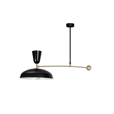 Illuminazione - Lampadari - Sospensione G1 - / Riedizione 1951, Pierre Guariche - L 115 cm di SAMMODE STUDIO - Nero opaco - Alluminio, Ottone
