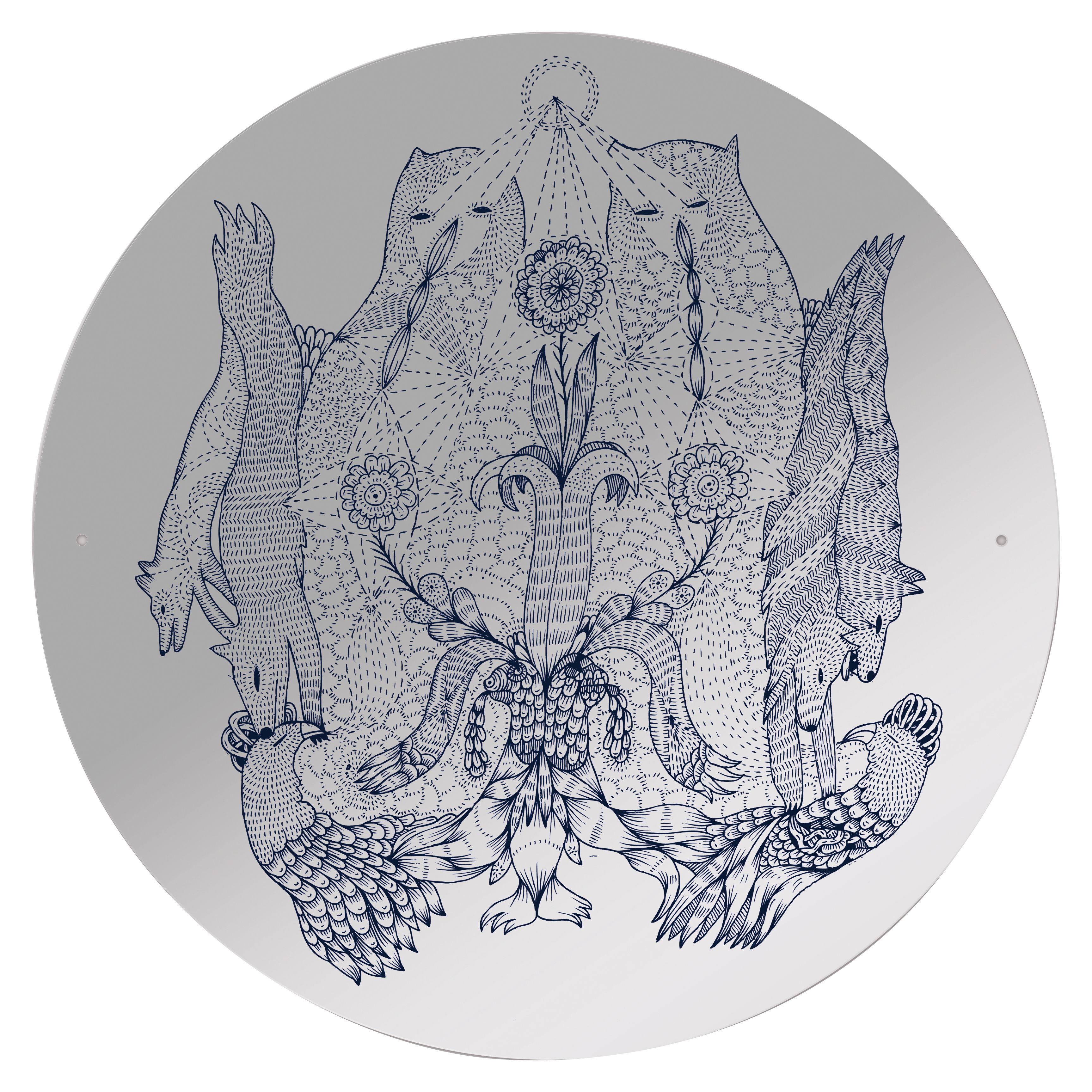 Arredamento - Specchi - Specchio autocollante Rarara - / Autoadesivo di Domestic - Motivo animali e piante - Materiale plastico