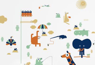 Dekoration - Stickers und Tapeten - BD Zoo Sticker - Domestic - Bunt - Vinyl