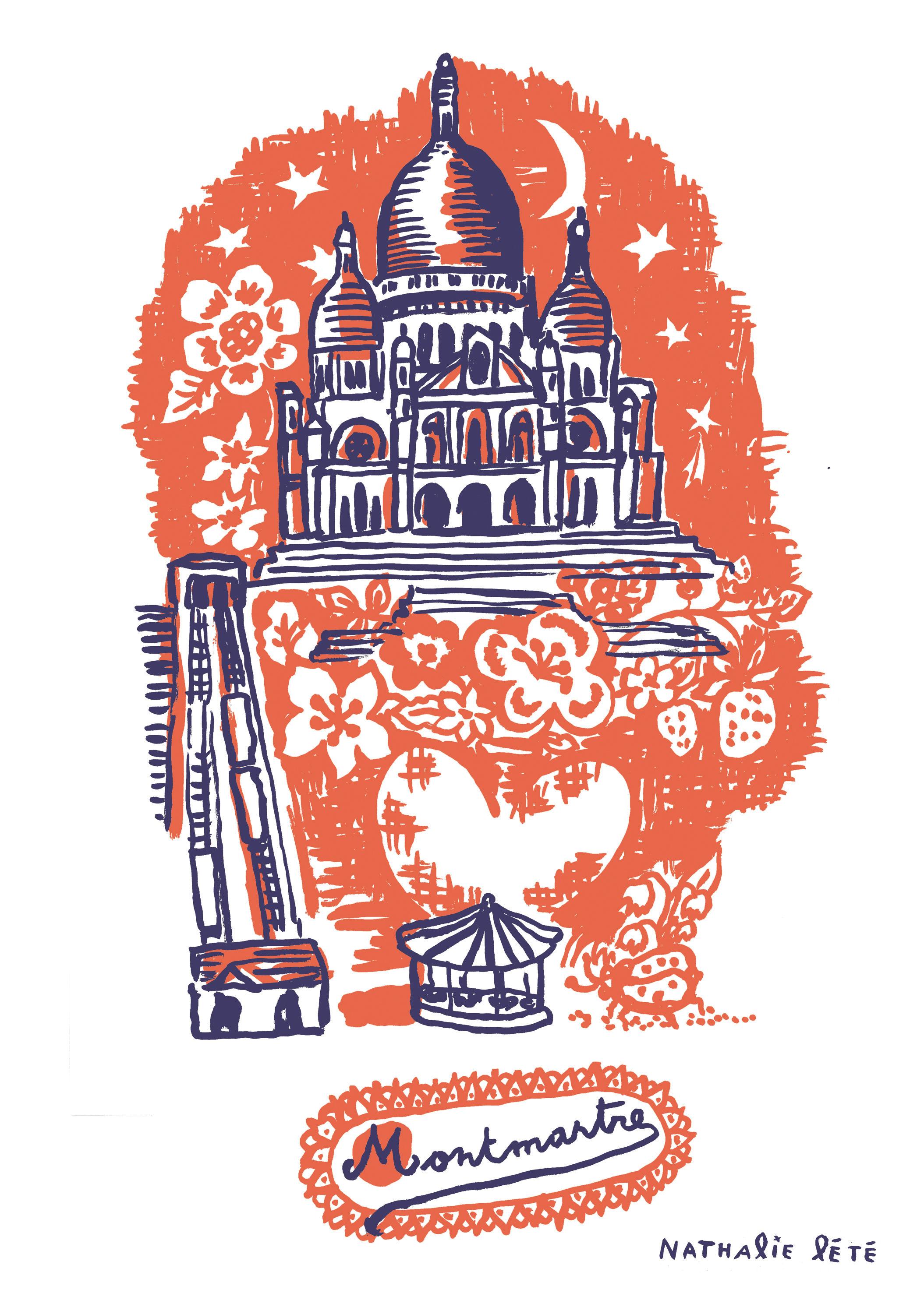 Dekoration - Für Kinder - Montmartre Sticker 25 x 35 cm - Domestic - Orange - Vinyl