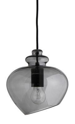 Luminaire - Suspensions - Suspension Grace / Ø 23 cm - Frandsen - Gris / Douille noire - Verre