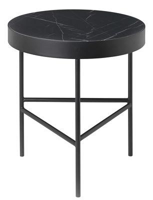 Table d'appoint Marble Medium / Ø 40 x H 45 cm - Ferm Living noir en pierre