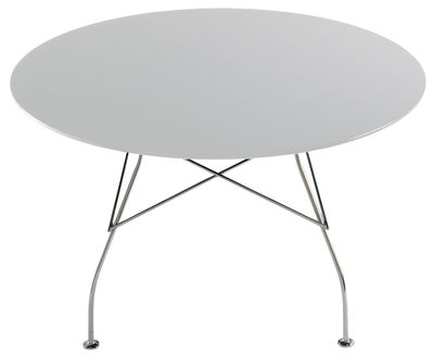 Table Glossy / Ø 130 cm - Plateau MDF laqué - Kartell chromé,blanc laqué en métal