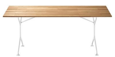 Jardin - Tables de jardin - Table pliante Teak / 200 x 95 cm - Alias - Teck / Structure blanche - Fonte d'aluminium, Teck lamellé collé