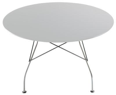 Table ronde Glossy / Ø 130 cm - MDF laqué - Kartell blanc en métal/bois