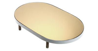 Tischkultur - Tabletts - Reflect Tablett / Spiegel oval - 67 x 41 cm - Serax - Weiß & verkupferter Spiegel / Füße holzfarben - bemaltes Metall, Bois naturel, Glas