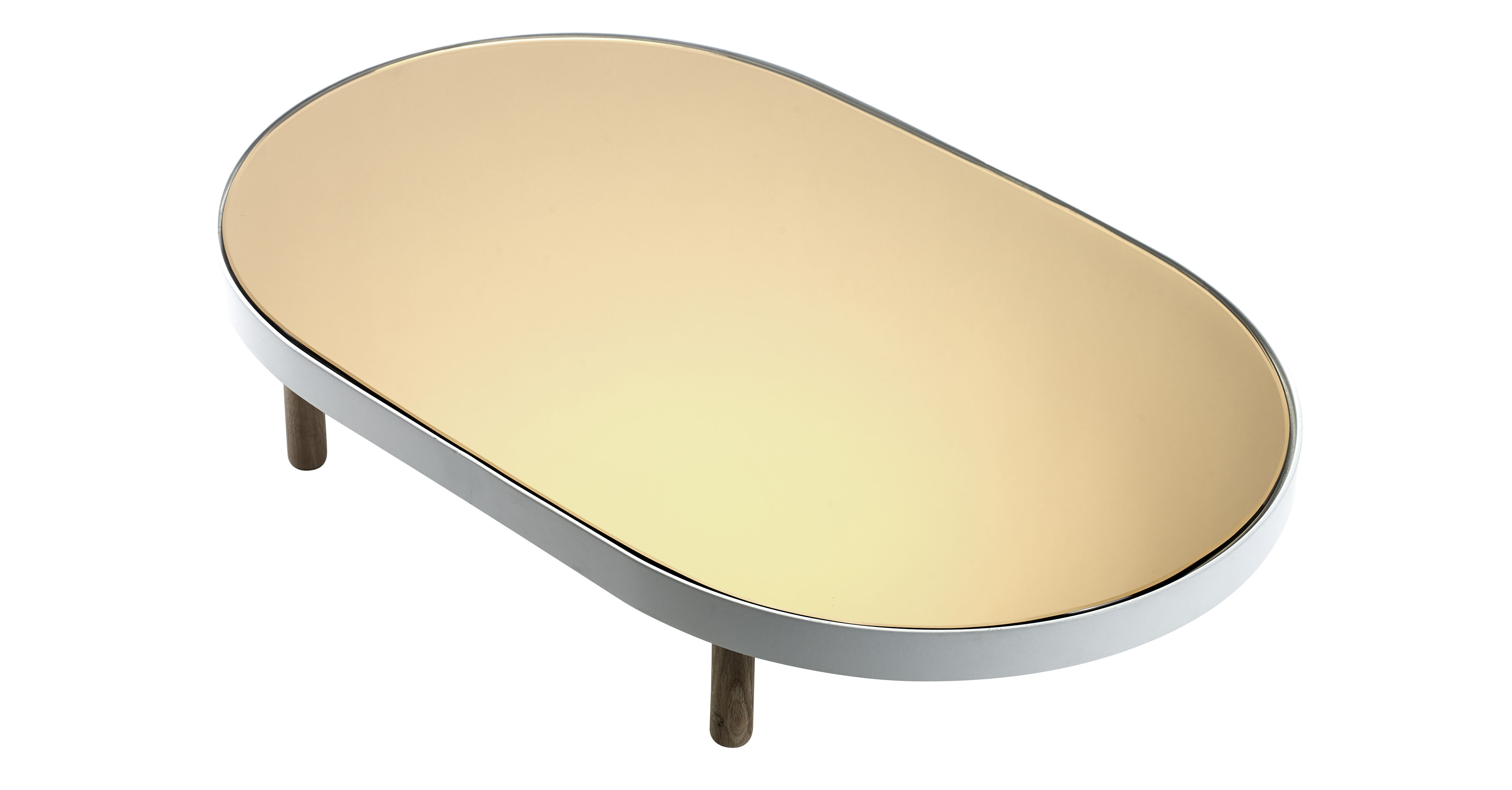 Tableware - Trays - Reflect Tray - Ovale Mirror - 67 x 41 cm by Serax - White & coppered mirror / Xood legs - Glass, Natural wood, Painted metal