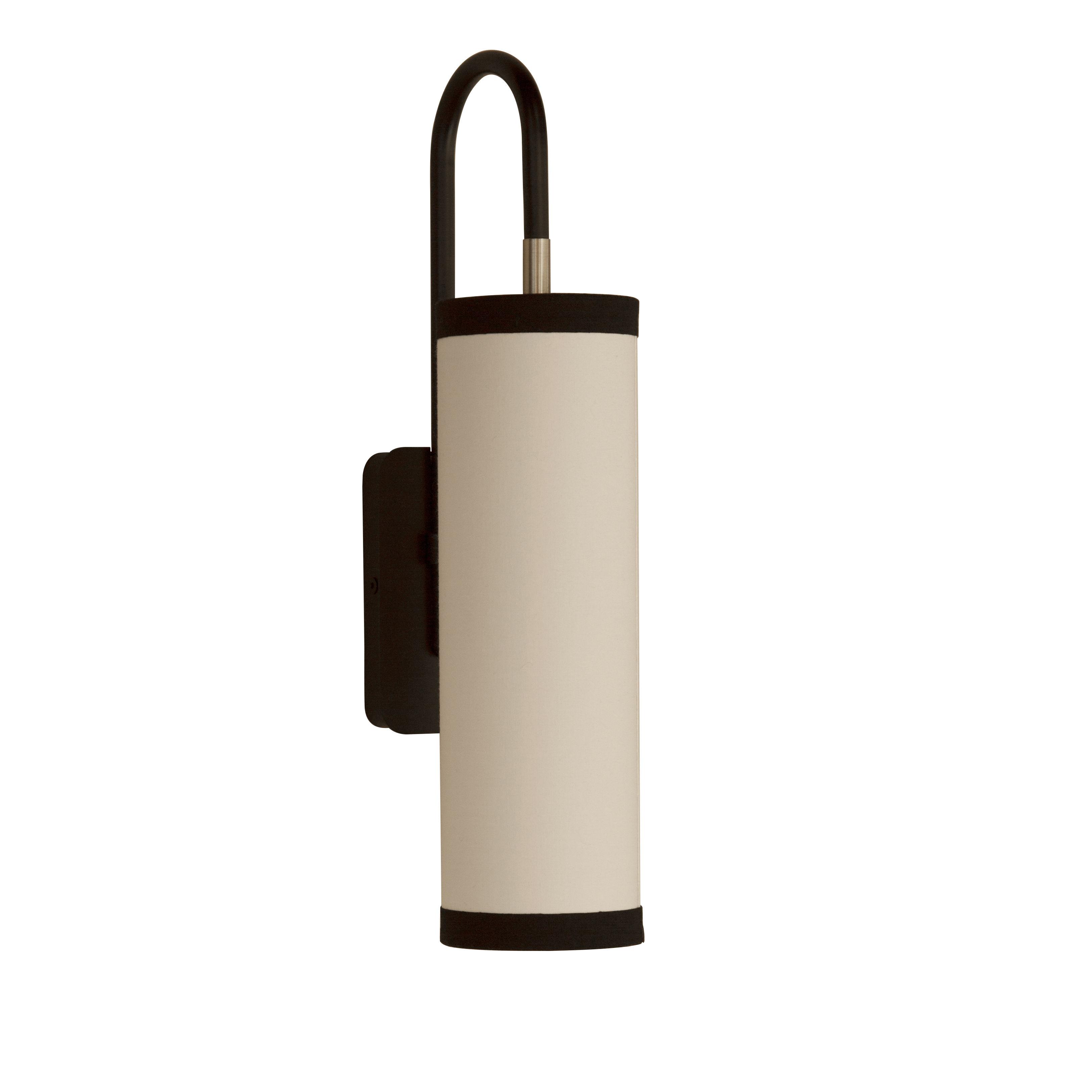 Leuchten - Wandleuchten - Tokyo Wandleuchte / Baumwolle - H 42 cm - Maison Sarah Lavoine - Schwarz / weiß - Baumwolle, thermolackierter Stahl