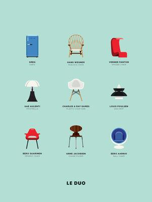 Affiche Le Duo - Design / 40 x 50 cm - Image Republic multicolore en papier