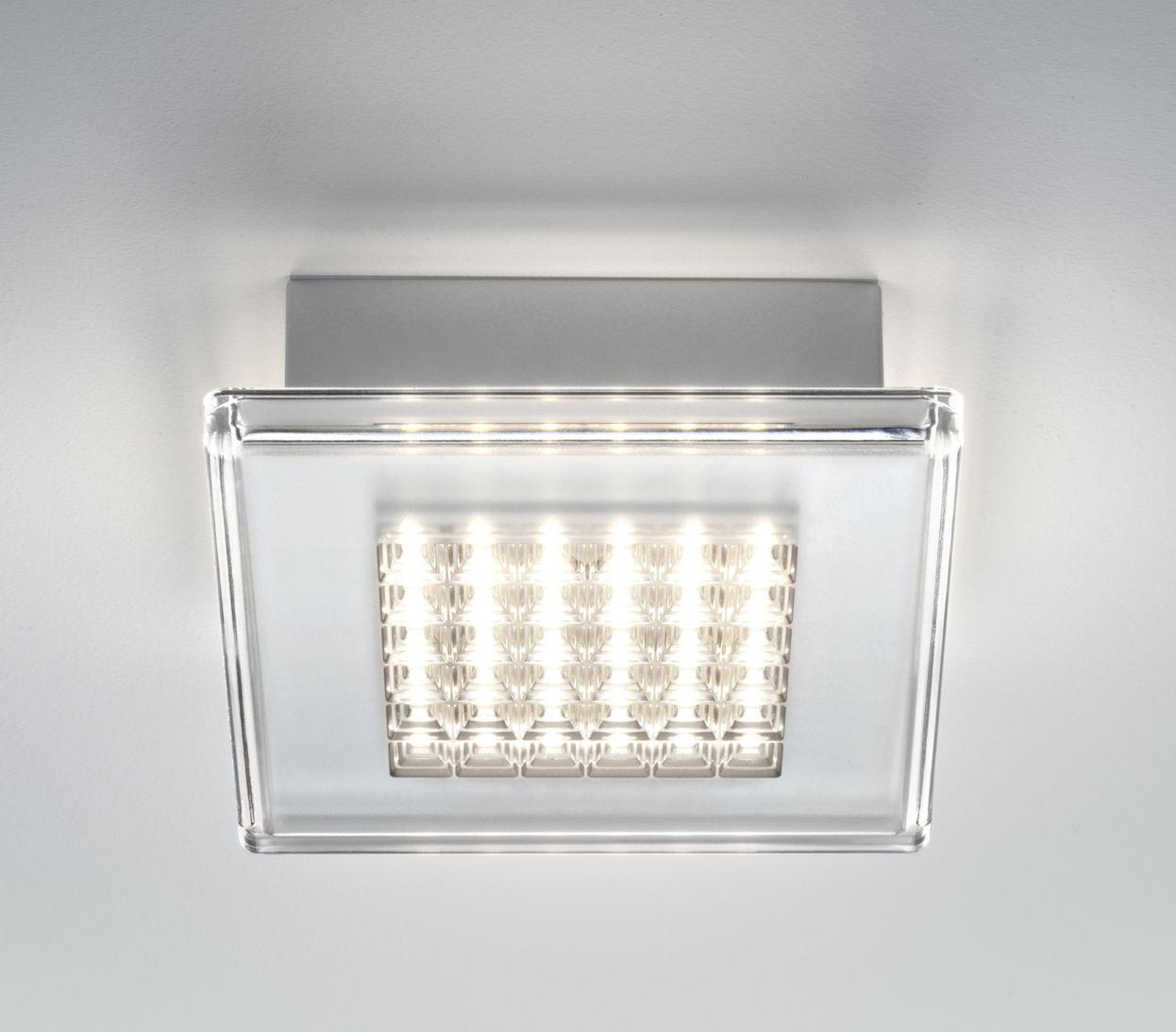 Luminaire - Appliques - Applique Quadriled LED / Plafonnier - 16 x 16 cm - Fabbian - Transparent - Polycarbonate