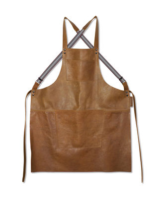 Kitchenware - Tea Towels & Aprons - Apron - leather / Crossed straps by Dutchdeluxes - Vintage camel - Full grain leather