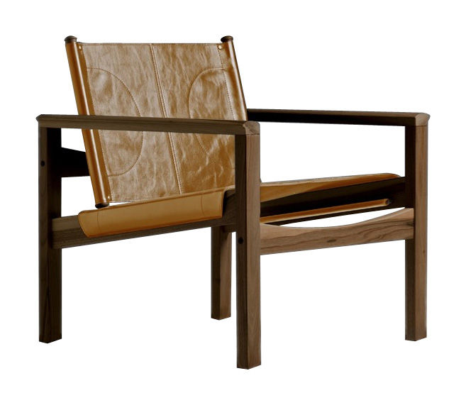 Furniture - Armchairs - Peglev Armchair - Armchair by Objekto - Varnished walnut structure / Whisky leather seat - Leather, Walnut