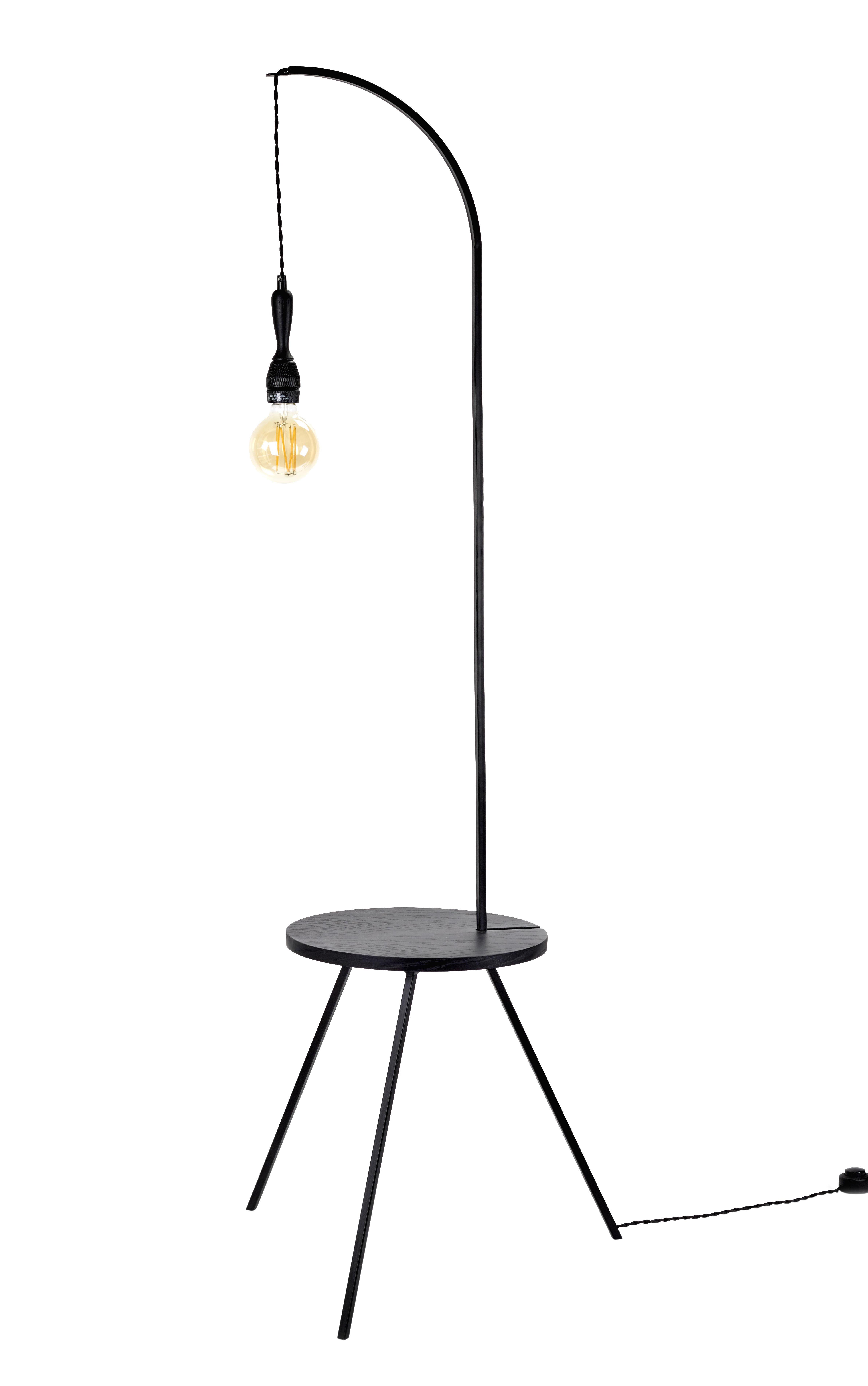 Möbel - Couchtische - Studio Simple Beistelltisch leuchtend / Tisch - Ø 50 cm x H 160 cm - Serax - Schwarz - Bois plaqué, Metall