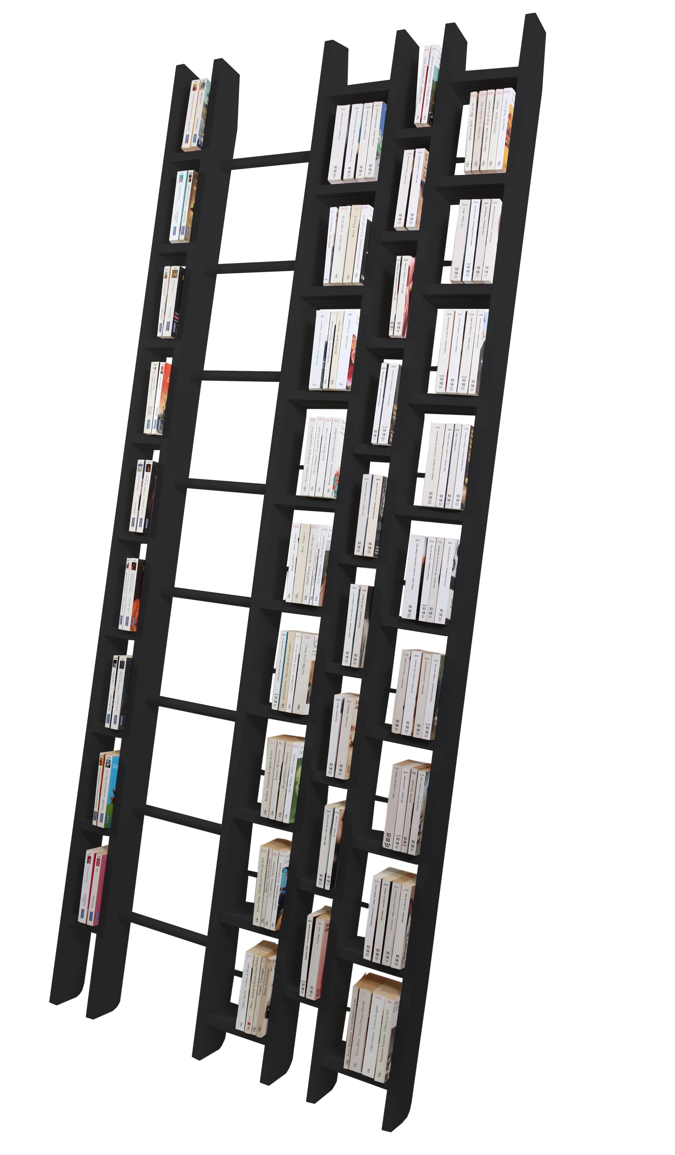 Mobilier - Etagères & bibliothèques - Bibliothèque Hô + / L 96 x H 240 cm - La Corbeille - Noir - Hêtre massif laqué