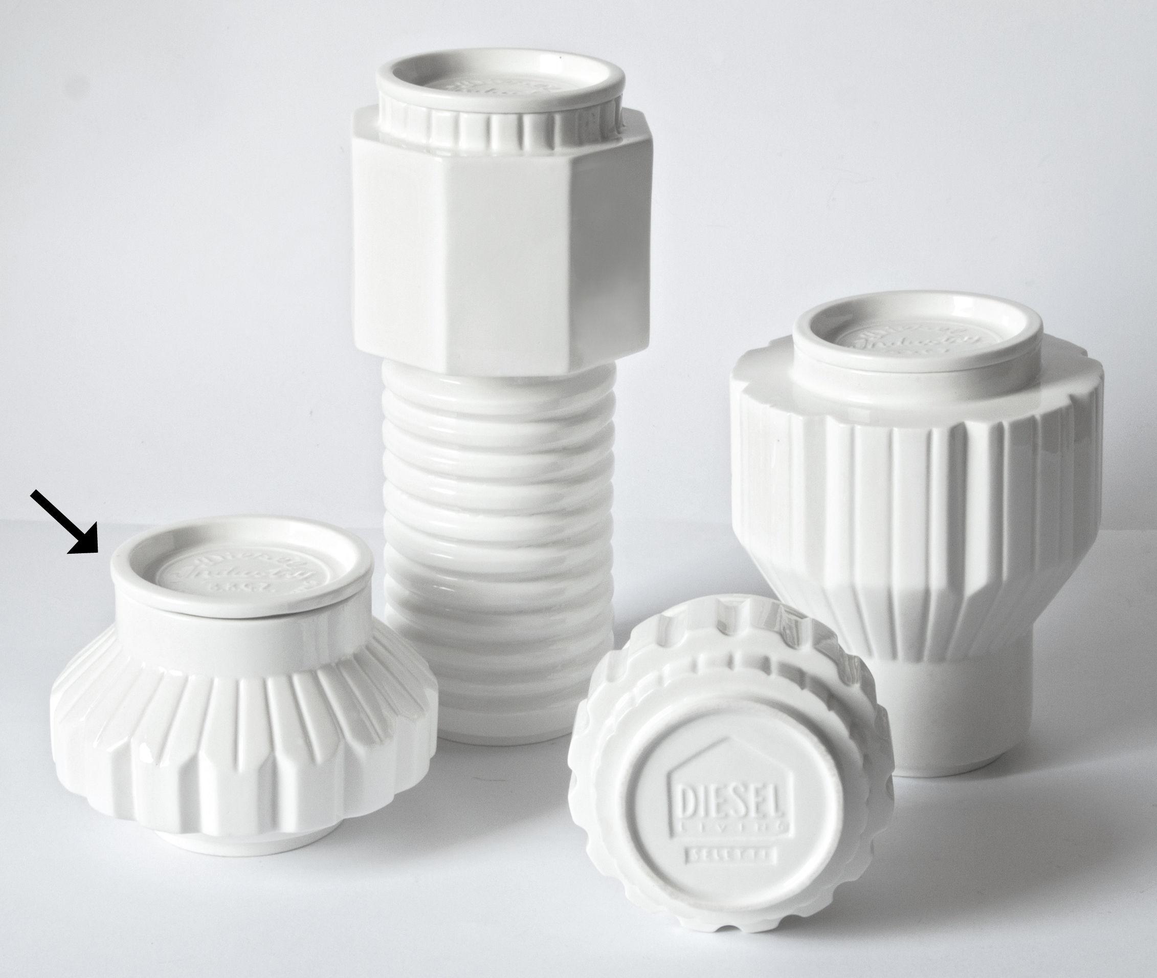 Cuisine - Boîtes, pots et bocaux - Boîte Machine Collection / Ø 16 x H 13,5 cm - Diesel living with Seletti - H 13 cm / Blanc - Porcelaine