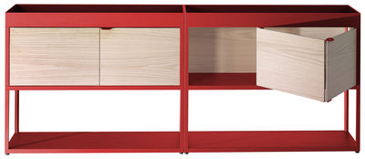 Buffet New Order / L 200 cm x H 79,5 cm - Hay rouge,frêne naturel en métal