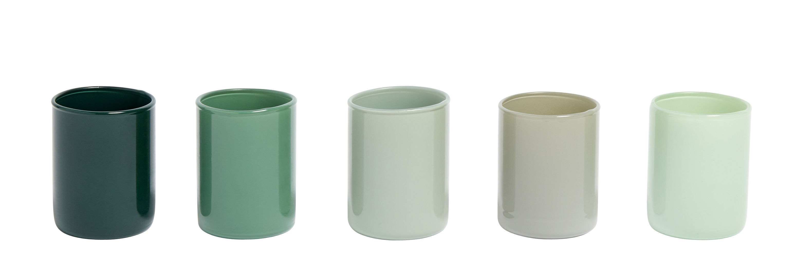 Decoration - Candles & Candle Holders - Spot Candle holder - / Set 5 - Glass by Hay - Green - Glass