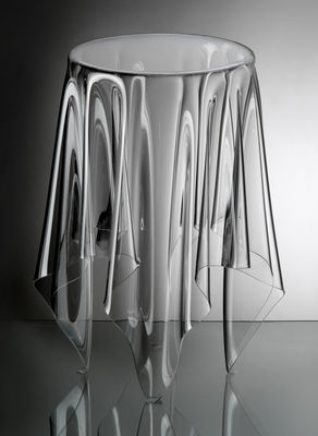 Furniture - Coffee Tables - Tall Illusion Coffee table - H 56 x Ø 32 cm by Essey - H 56 x Ø 32 cm - Clear - Acrylic, PMMA