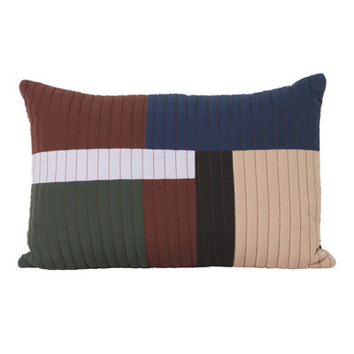 Decoration - Cushions & Poufs - Shay Patchwork Cushion - / Quilted - 60 x 40 cm by Ferm Living - Cinnamon -  Plumes, Organic cotton, Recycled polyester