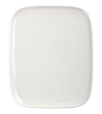 Tischkultur - Teller - Oiva Dessertteller rechteckig - 12 x 15 cm - Marimekko - Oiva - Weiß - emailliertes Porzellan