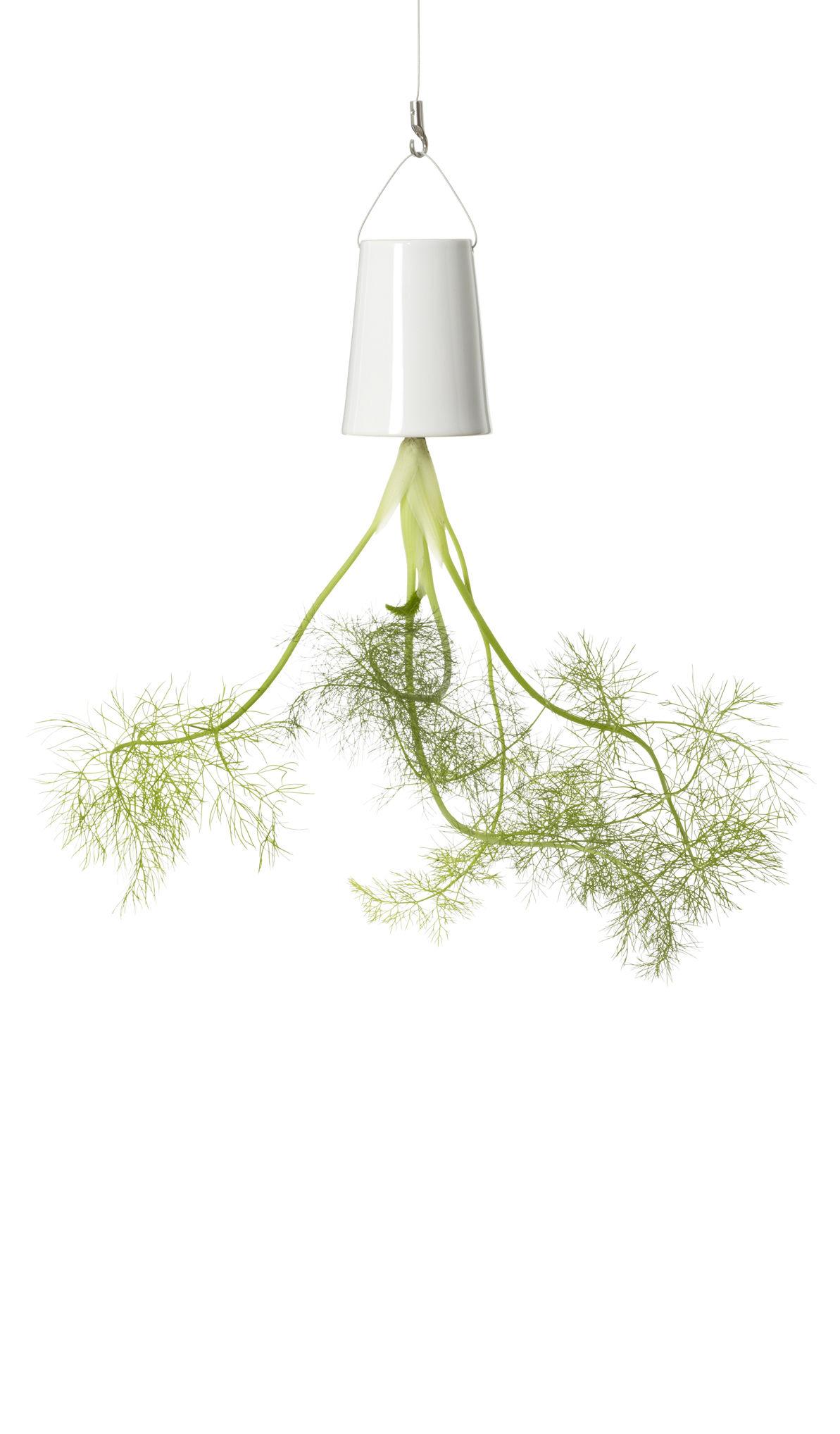 Dekoration - Töpfe und Pflanzen - Sky Small Hänge-Blumenkasten / Keramik - H 13 cm - Boskke - H 13 cm / weiß - Keramik