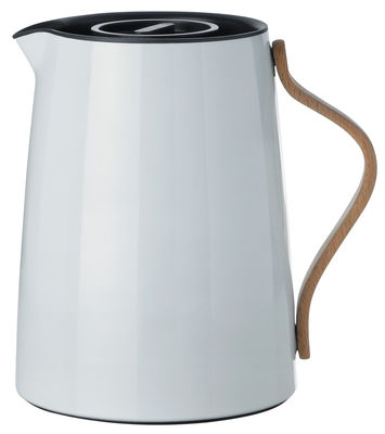 Tableware - Tea & Coffee Accessories - Emma Insulated jug - 1 L / Thermo by Stelton - Light grey - Beechwood, Lacquered stainless steel