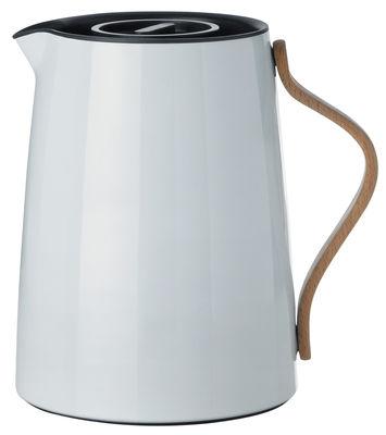 Tischkultur - Tee und Kaffee - Emma Isolierkrug / 1 l - Stelton - 1 l / hellgrau & holzfarben - Buchenfurnier, rostfreier lackierter Stahl