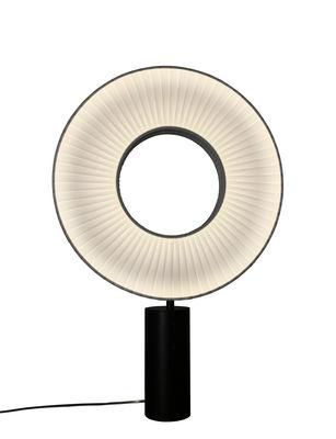 Lampe de table Iris LED / H 75 cm - Tissu & éclairage recto-verso - Dix Heures Dix blanc/beige en métal/tissu