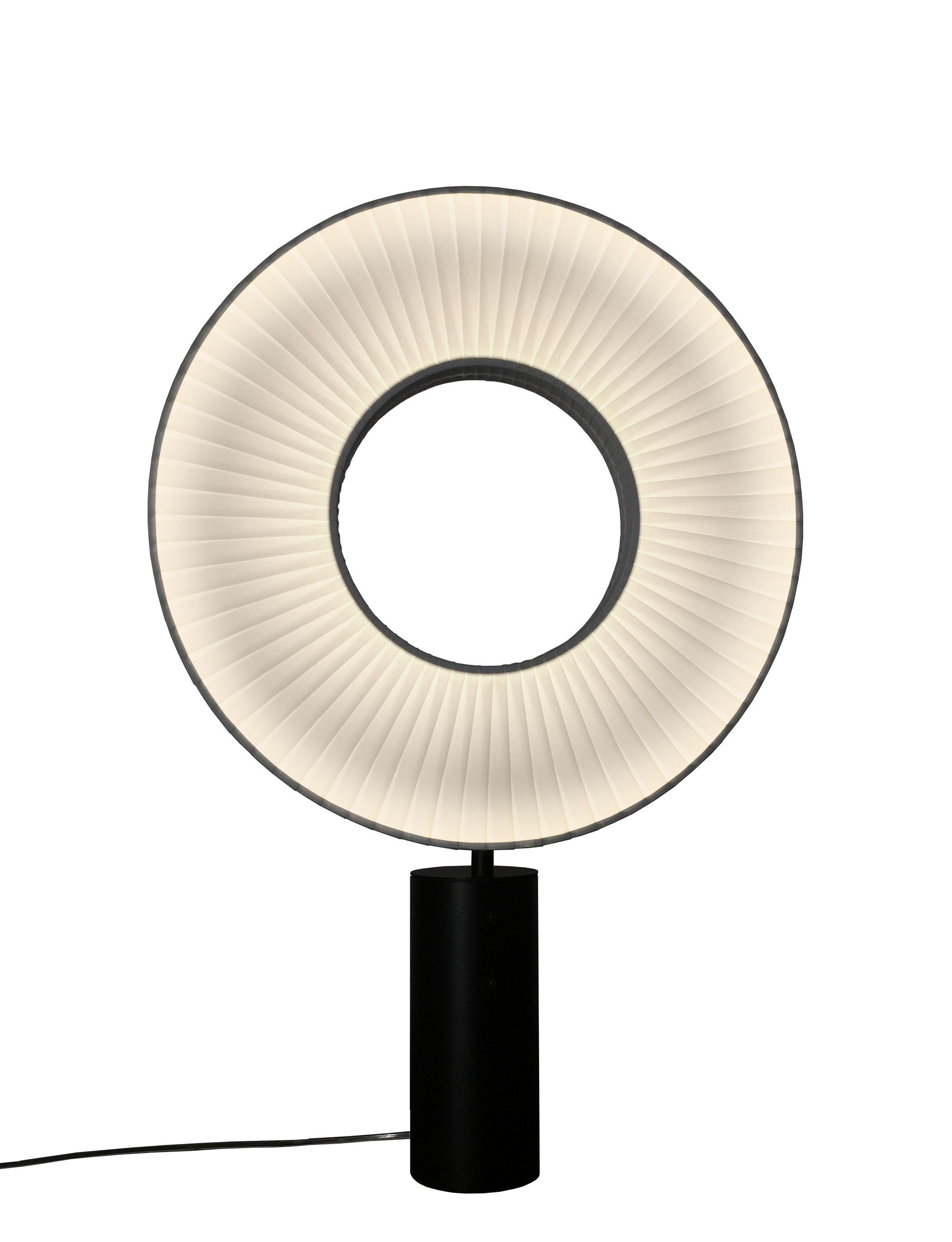 Luminaire - Lampes de table - Lampe de table Iris LED / Eclairage double flux & recto-verso - Dix Heures Dix - H 75 cm / Tissu blanc & pied noir - Métal, Tissu