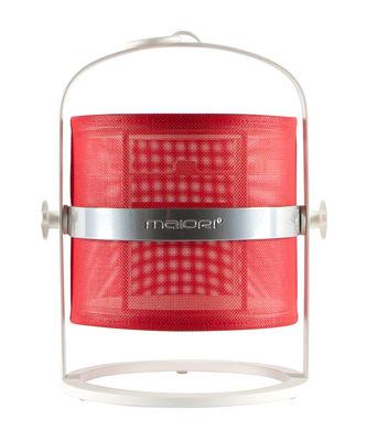 Luminaire - Lampes de table - Lampe solaire La Lampe Petite LED / Hybride & connectée - Structure blanche - Maiori - Rouge / Structure blanche - Aluminium, Tissu technique
