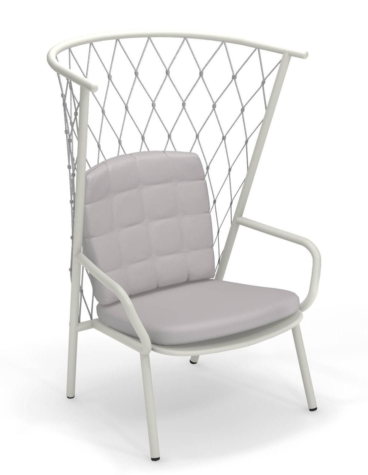 Möbel - Lounge Sessel - Nef Lounge Sessel / Rückenlehne H 125 cm - Emu - Sessel / Weiß & Rückenlehne grau - klarlackbeschichtetes Aluminium, Kunststoffseile