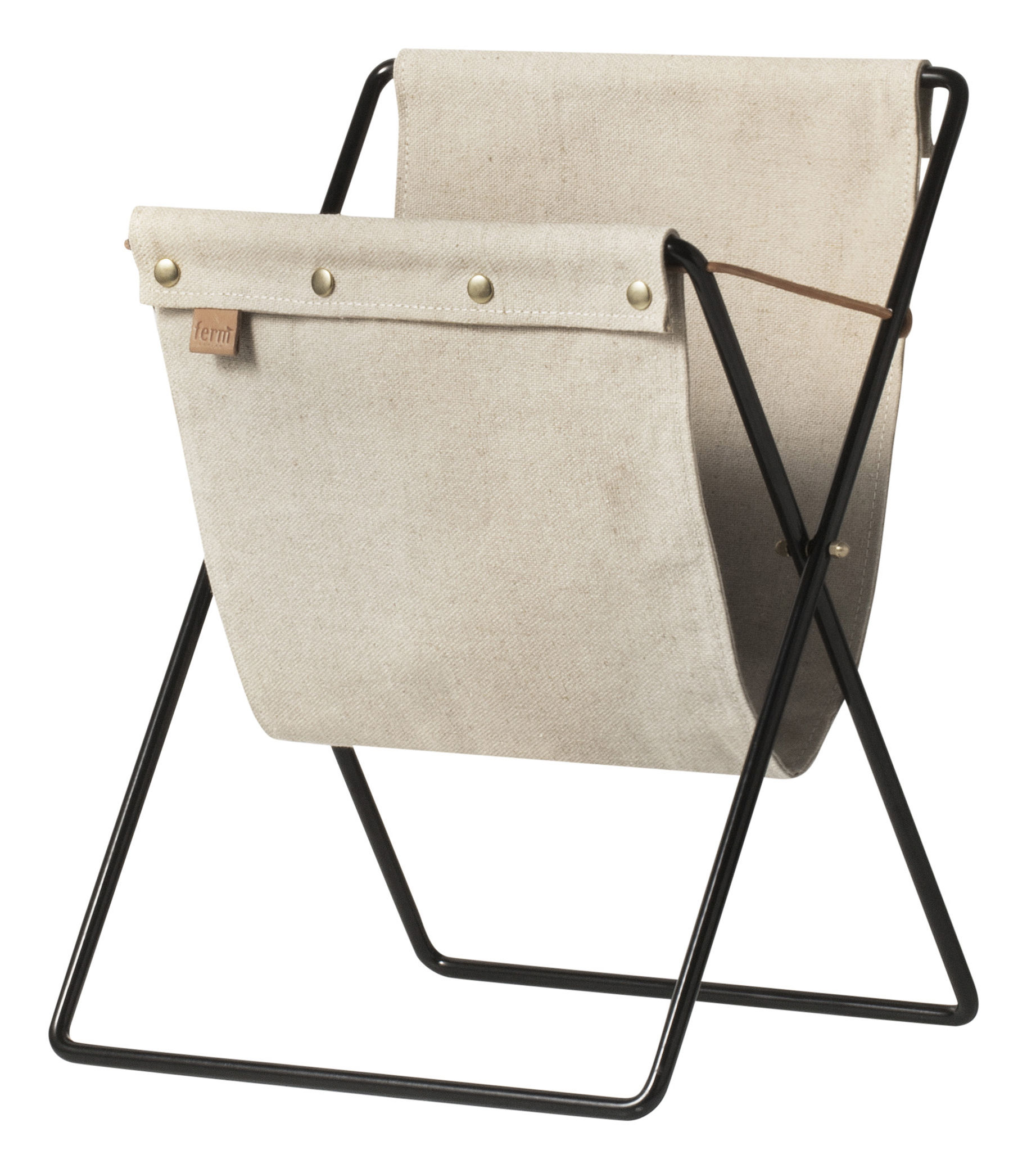 Decoration - Boxes & Baskets - Herman Magazine holder - Metal & fabric by Ferm Living - Beige / Black - Brass, Cotton, Epoxy lacquered metal, Leather