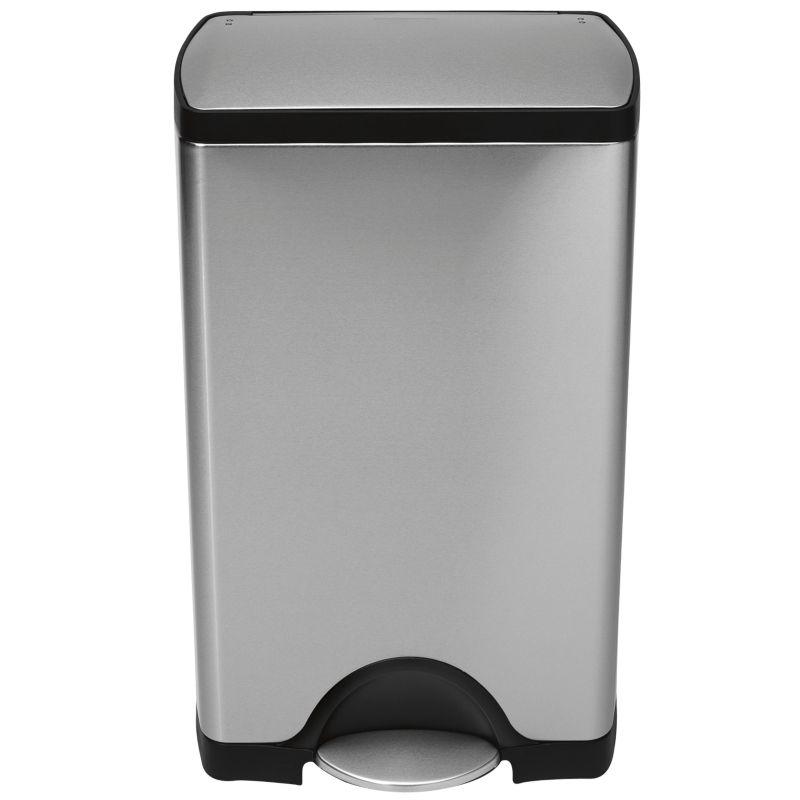 Cucina - Cestini - Pattumiera a pedale Deluxe Rectangular - / 38 litri di Simple Human - Acciaio - 38 Litri - Acciaio inossidabile satinato