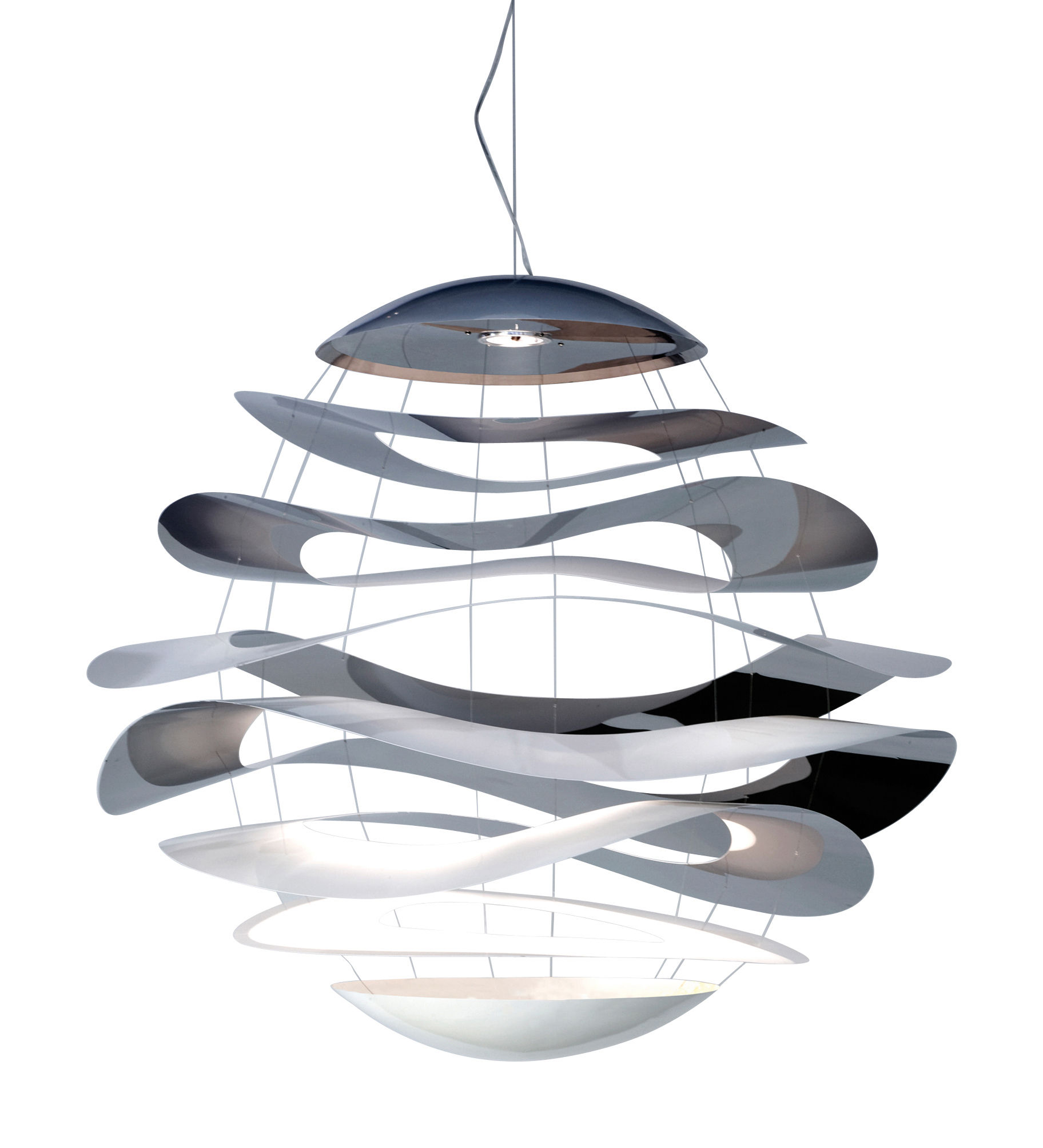 Lighting - Pendant Lighting - Buckle Small Pendant - LED  Ø 70 cm by Innermost - Ø 70 cm - Polished stainless steel & White - Painted steel