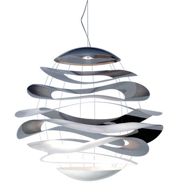 Leuchten - Pendelleuchten - Buckle Small Pendelleuchte LED Ø 70 cm - Innermost - Ø 70 cm - Edelstahl poliert & weiß - bemalter Stahl