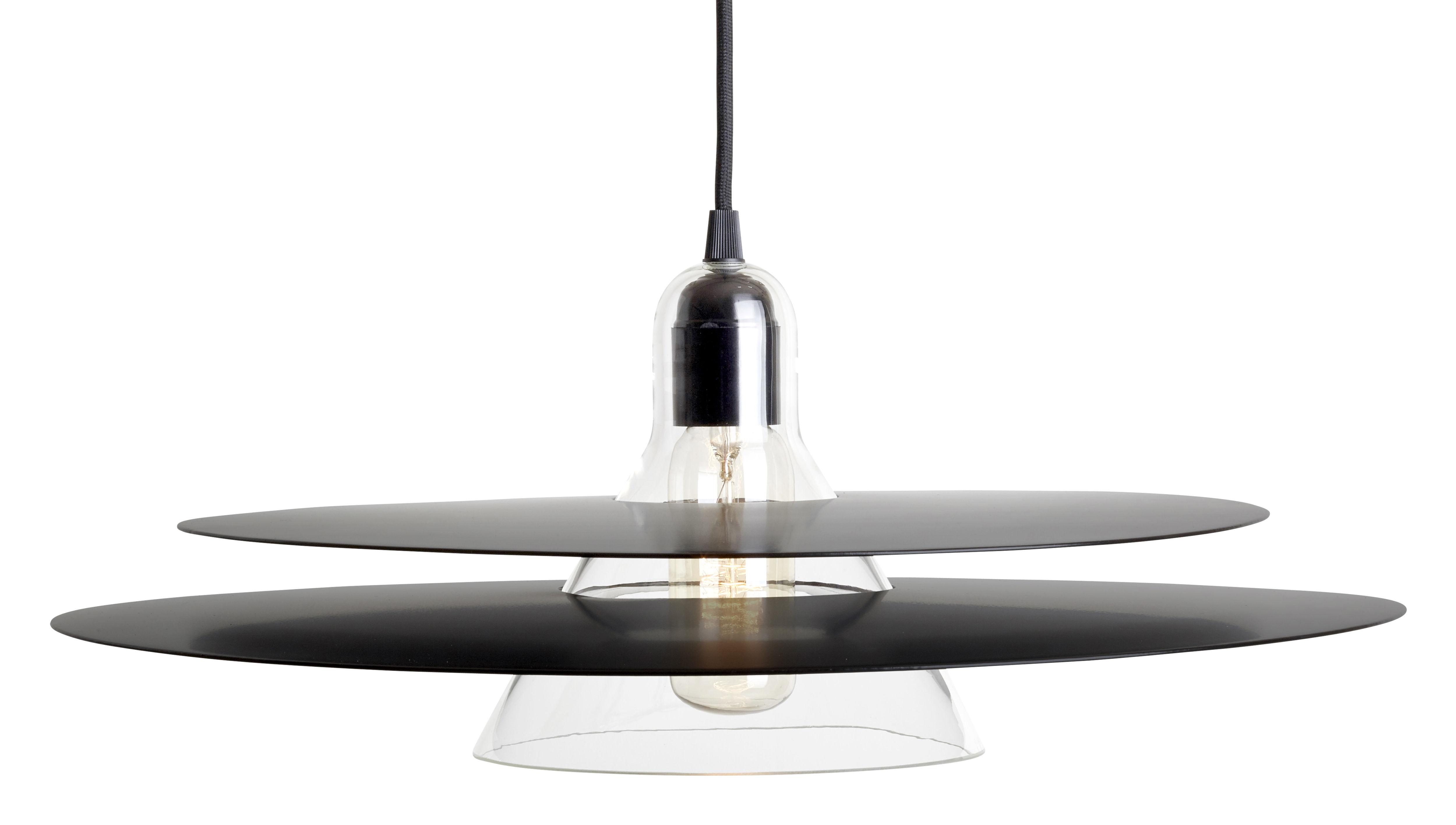 Leuchten - Pendelleuchten - Cymbal Pendelleuchte / mundgeblasenes Glas & Metall - Ø 47 cm - La Chance - Ringe schwarz / Glas transparent - geblasenes Glas, lackiertes Aluminium