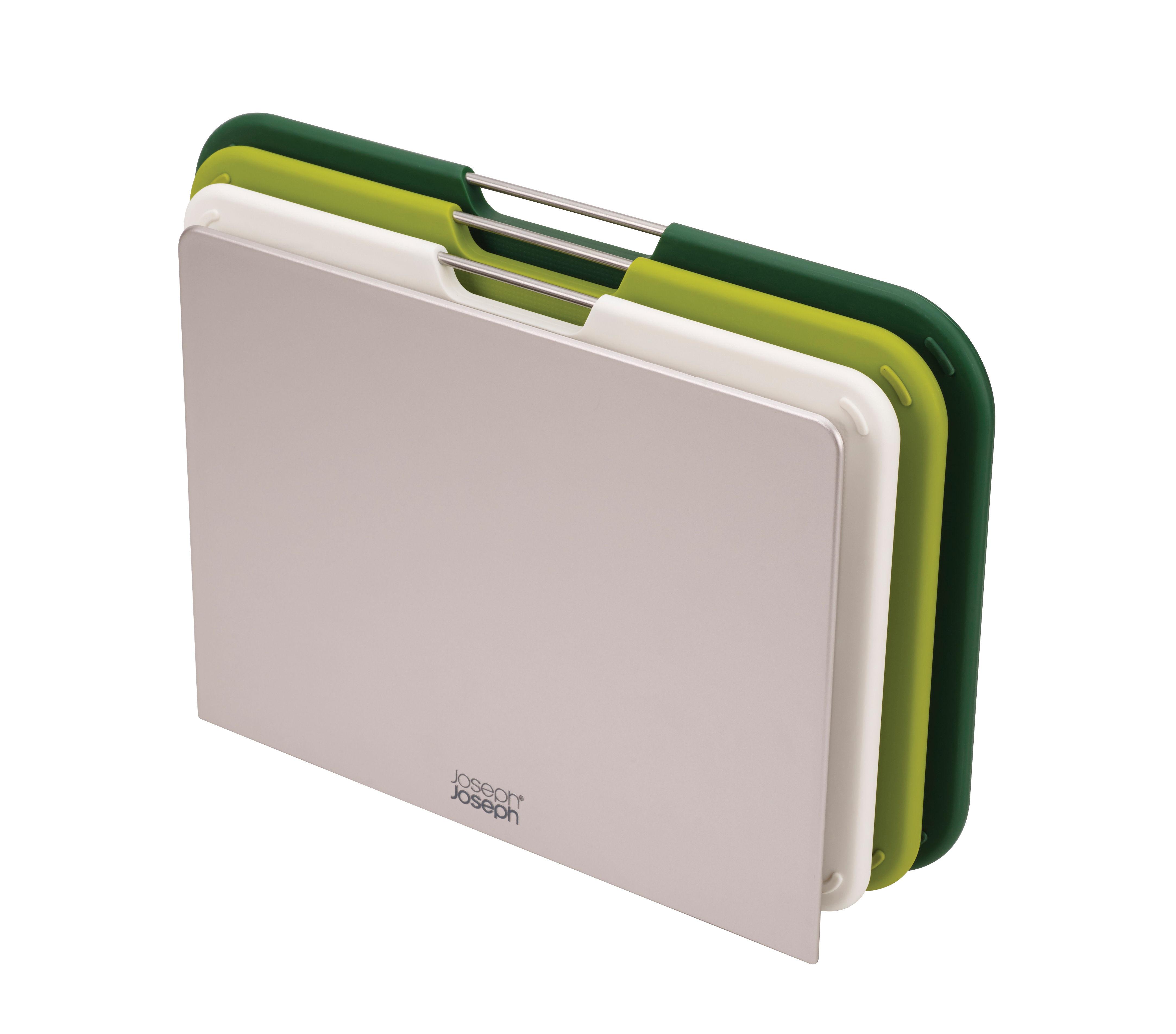 Cuisine - Ustensiles de cuisines - Planche à découper Nest Small / Set 3 planches + support - Joseph Joseph - Vert - ABS, Acier, Polypropylène