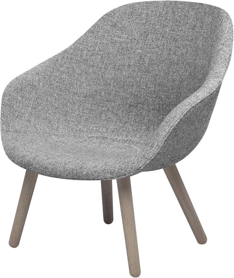 Arredamento - Poltrone design  - Poltrona bassa About a Lounge AAL82 - /Schienale basso - Tessuto Hallingdal di Hay - Base naturale/Seduta in tessuto grigio chiaro - Rovere massello, Tessuto