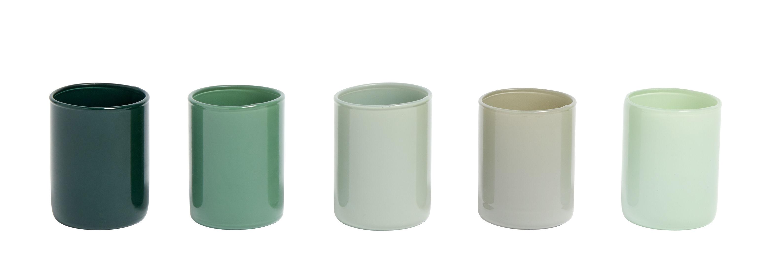 Interni - Candele, Portacandele, Lampade - Portacandela Spot - / Set da 5 - Vetro di Hay - Verde - Vetro