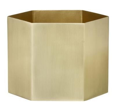 Déco - Vases - Pot de fleurs Hexagon XL / Ø 18 x H 16 cm - Ferm Living - Doré - Laiton