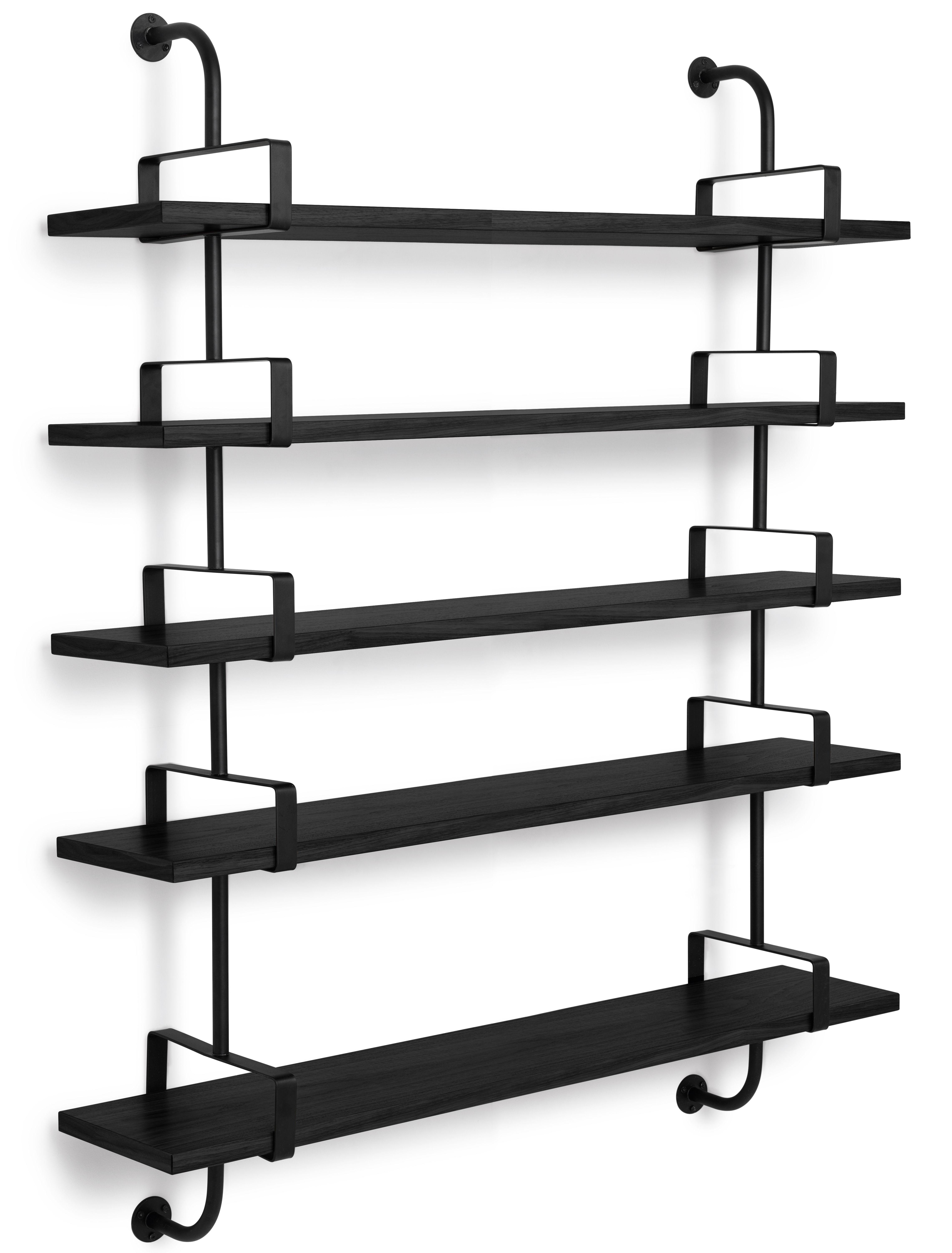 Arredamento - Scaffali e librerie - Scaffale Demon - / Matégot - L 155 x H 150 cm - Riedizione 54' di Gubi - Nero / Montanti neri - Frassino tinto, metallo verniciato