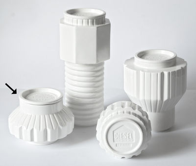 Cucina - Lattine, Pentole e Vasi - Scatola Machine Collection - / Ø 16 x H 13,5 cm di Diesel living with Seletti - H 13 cm / Bianco - Porcellana