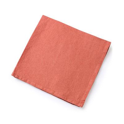 Serviette de table / 50 x 50 cm - Lin traité TEFLON®anti-tache - Au Printemps Paris rouge/marron en tissu