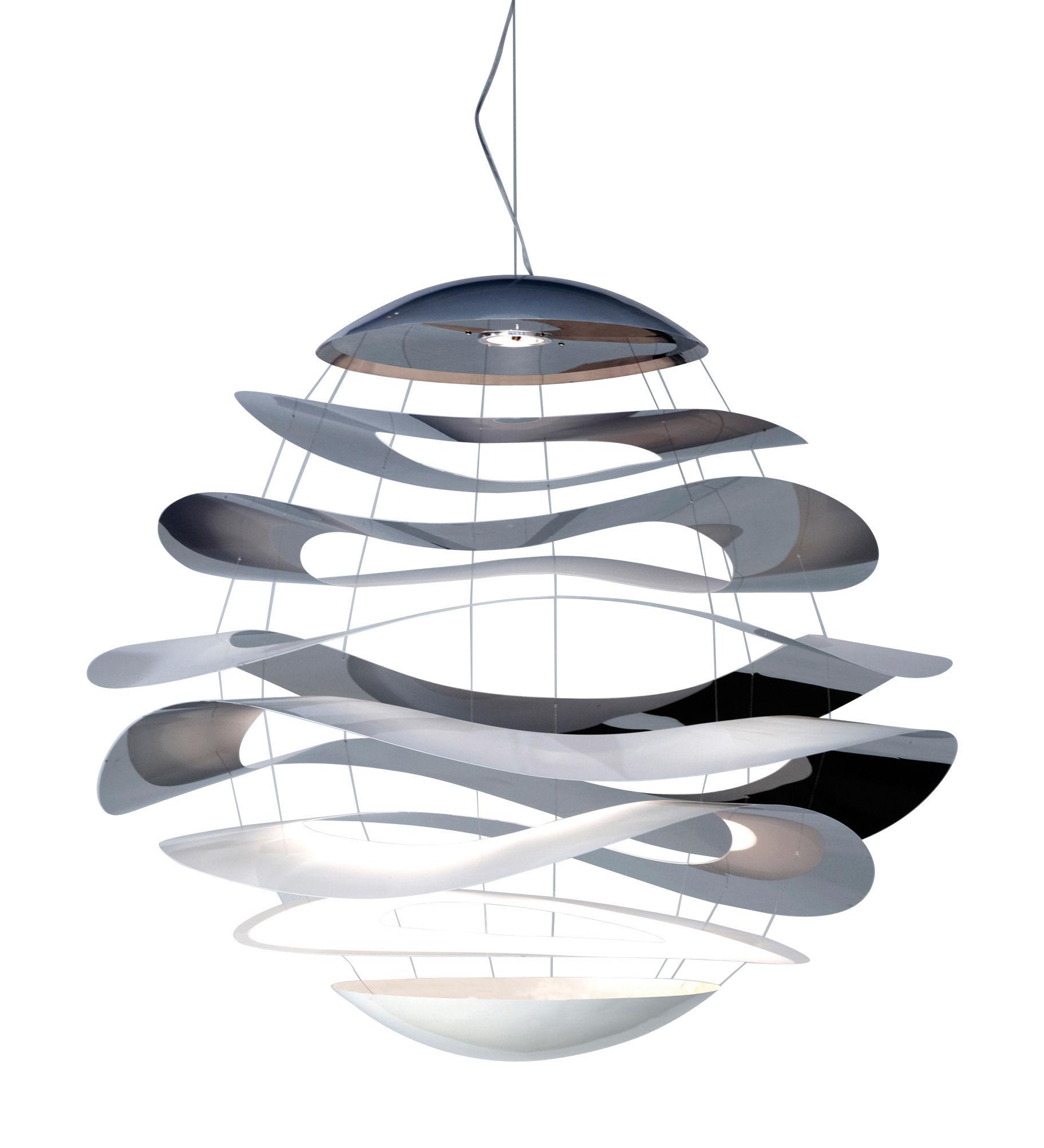 Illuminazione - Lampadari - Sospensione Buckle Small - LED  Ø 70 cm di Innermost - Ø 70 cm - Inox lucido & Bianco - Acciaio verniciato