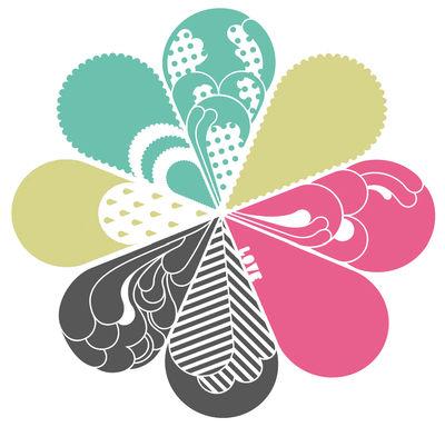 Déco - Stickers, papiers peints & posters - Sticker Love silver - Domestic - Argent-jaune-vert-rose - Vinyle