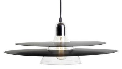 Luminaire - Suspensions - Suspension Cymbal / Verre soufflé & métal - Ø 47 cm - La Chance - Anneaux noirs / Verre transparent - Aluminium laqué, Verre soufflé