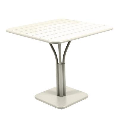 Table carrée Luxembourg / 80 x 80 cm - Pied central - Fermob gris argile en métal